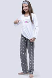 Момичешка пижама Meow бяла