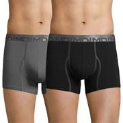 2 pack мъжки боксерки DIM Cotton 3D Flex сиво-черни