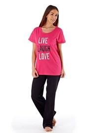 Дамска памучна пижама Laugh Pink