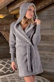 Дамски халат Pompon сив