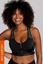 Спортен сутиен Fast Black без банели, с предно закопчаване