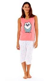 Дамска памучна пижама Owl Coral