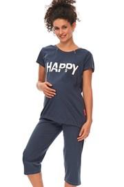 Пижама за бременни и кърмачки Happy Mommy синя