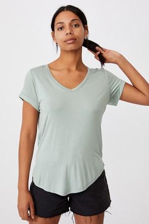 Светлозелена basic блуза с овално деколте Karly
