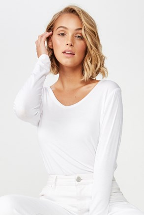 Бяла дамска basic дамска блуза с дълъг ръкав Karly