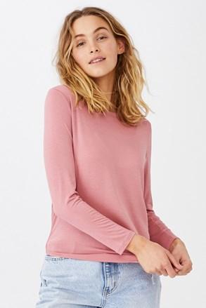 Розова дамска basic блуза с дълъг ръкав Kathleen