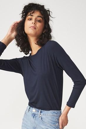 Синя дамска basic блуза с дълъг ръкав Kathleen