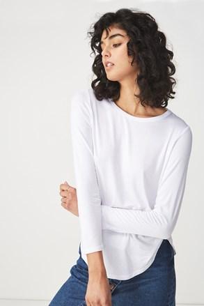 Бяла дамска basic блуза с дълъг ръкав Kathleen