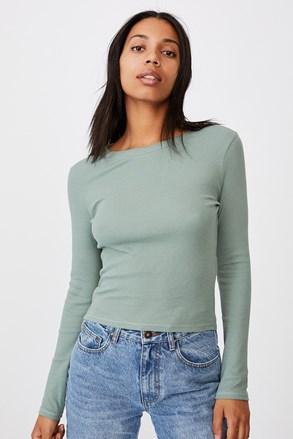 Зелена дамска basic tблуза с дълъг ръкав Turn