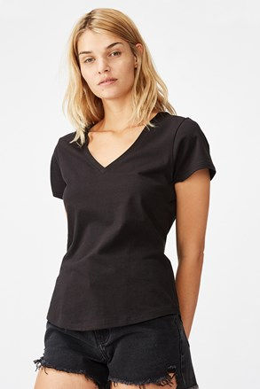 Черна дамска basic блуза с къс ръкав One