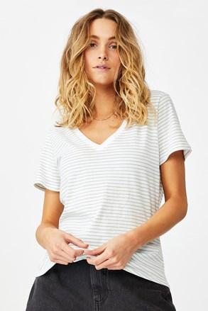 Раирана дамска basic блуза с къс ръкав One