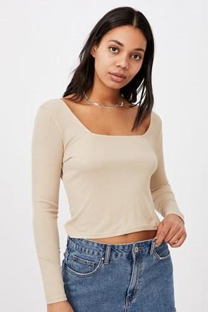 Бежова дамска basic блуза с дълъг ръкав Serena