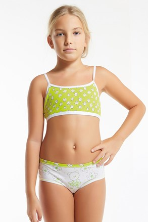 Комплект за момичета от топ и бикини Flower Green