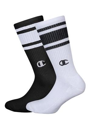 2 pack по-дълги черно-бели чорапи Champion