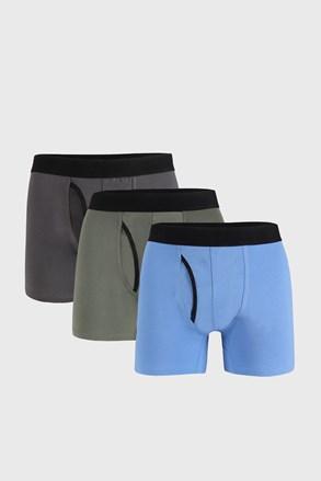 3 PACK синьо-сиви боксерки Organic Cotton