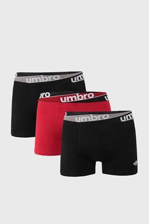 3 PACK винено-черни боксерки Umbro