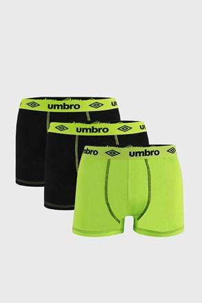 3 PACK черно-зелени боксерки Umbro BIO