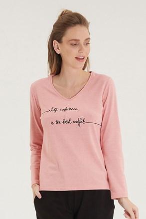 Дамска розова блуза с дълъг ръкав