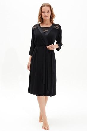 Дамски черен халат Black Pearl