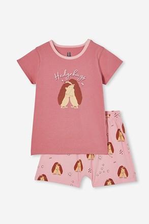 Пижама за момичета Hedgehog hugs къса