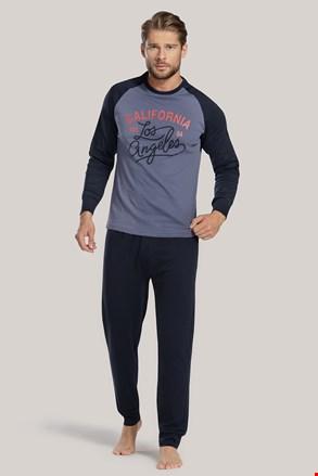 Мъжка пижама синя с надпис