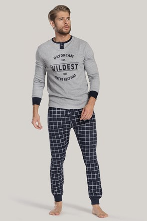 Сиво-синя мъжка пижама с надприс