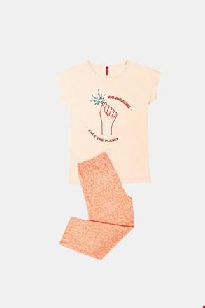 Оранжево пижама за момичета Save planet