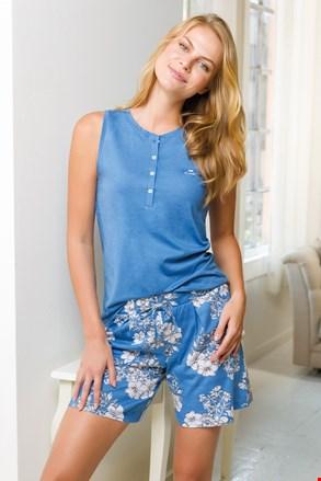Дамски син къс пижамен комплект