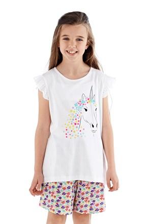 Пижама за момичета Polly къса бяла