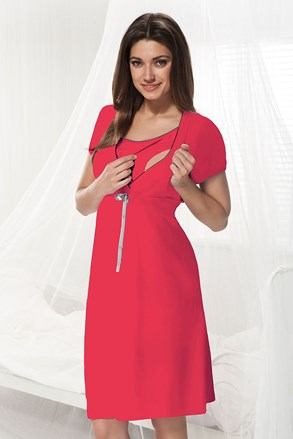 Нощничка за кърмачки и бременни Dorota с цвят малина