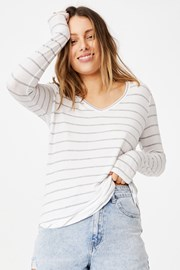 Дамска basic блуза с дълъг ръкав Karly раирана