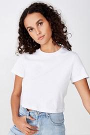 Бяла дамска basic блуза с къс ръкав Baby