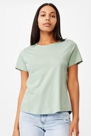 Зелена дамска basic блуза с къс ръкав Crew