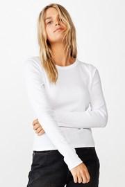 Бяла дамско basic блуза с дълъг ръкав Turn