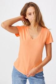 Кайсиева дамска basic блуза с къс ръкав One