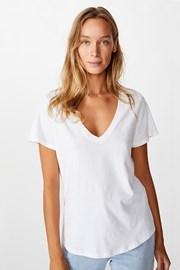 Бяла дамска basic блуза с къс ръкав One
