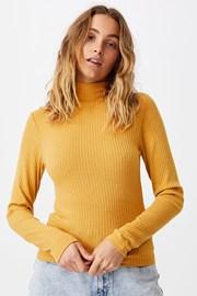 Дамско basic поло Mila цвят горчица