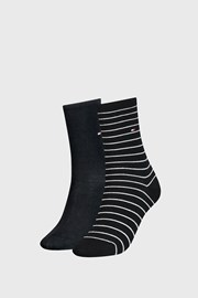 2 PACK дамски чорапи Tommy Hilfiger Small Stripe Black