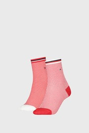 2 PACK дамски чорапи Tommy Hilfiger Honeycomb Red