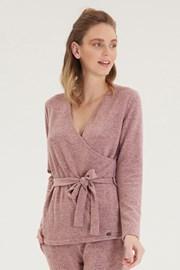 Дамска розова блуза тип прегърни ме с дълъг ръкав