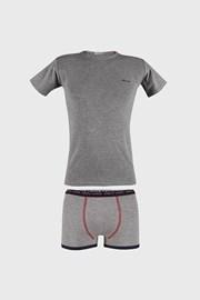 Сив комплект за момчета от боксерки и тениска