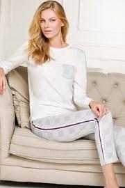 Бяло-сив дамски домашен комплект Nela