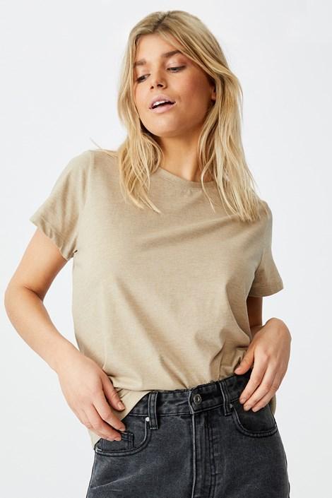 Бежова дамска basic блуза с къс ръкав Crew