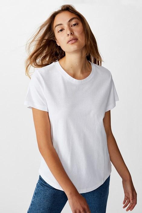 Бяла дамска basic блуза с къс ръкав Crew