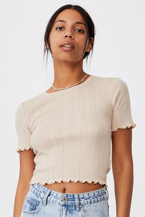 Бежова дамска блуза с къс ръкав Pointelle Crop