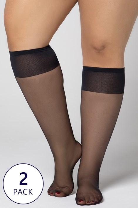2 PACK силонови три четвърти чорапи Plus Size 20 DEN