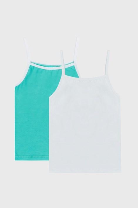 2 PACK бяло-зелени basic потници за момичета