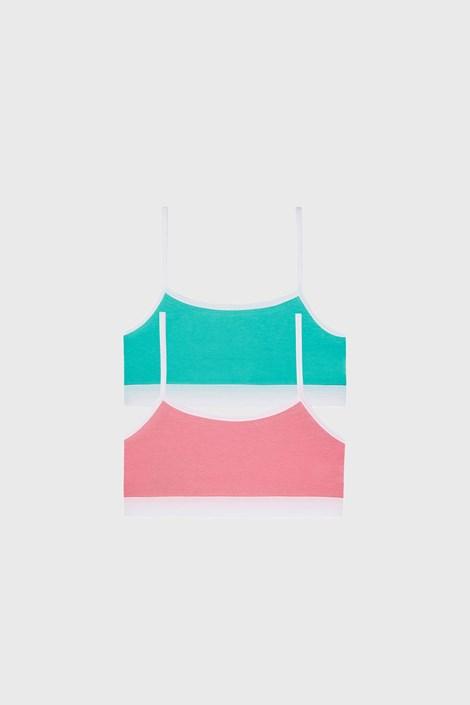 2 PACK зелено-розови basic топове за момичета