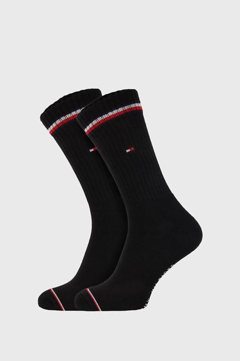 2 PACK черни дълги чорапи Tommy Hilfiger Iconic