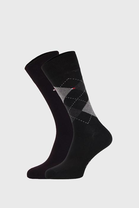 2 PACK черни чорапи Tommy Hilfiger Check